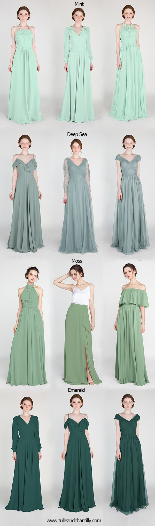 mint deep sea moss and emerald green bridesmaid dresses for greenery weddings