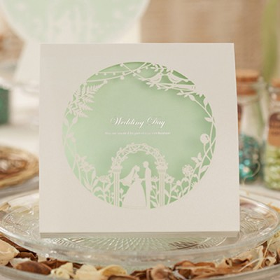 mint green spring laser cut classic wedding invitations