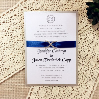 modern sapphire blue satin ribbon rhinestone layered wedding invitations