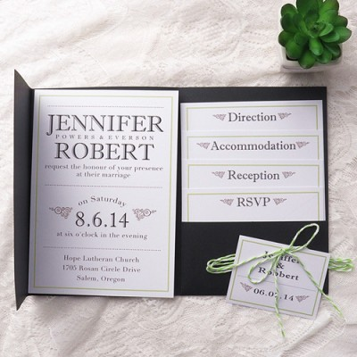 modern simple green wedding black pocket wedding invitation