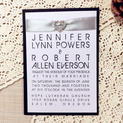 modern white and black rhinestone ribbon layered wedding invitations