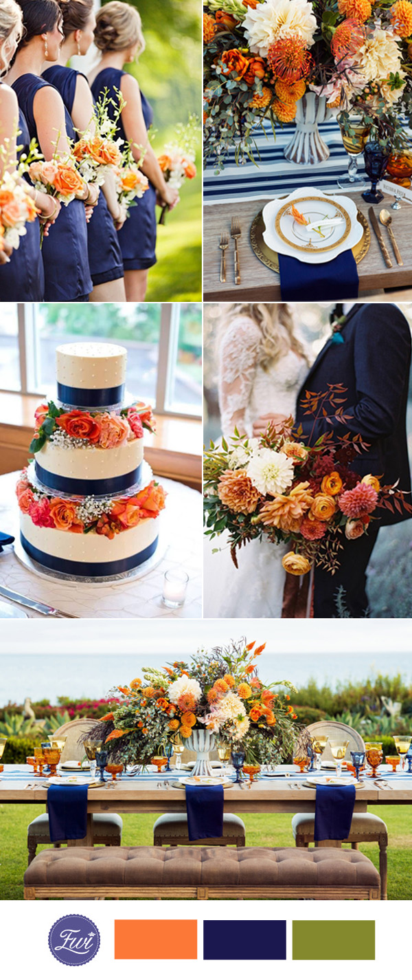 navy blue and peach wedding color ideas 2017