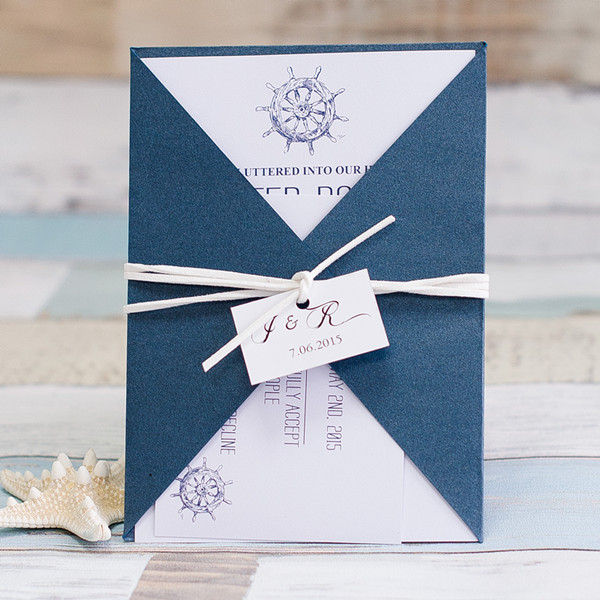 navy blue nautical pocket wedding invitations with tags