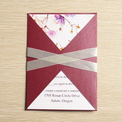 purple and red rustic floral fall pocket wedding invitations
