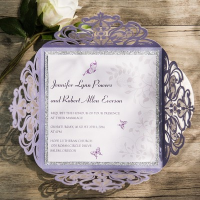 romantic butterfly lavender silver glittery laser cut wedding invitations