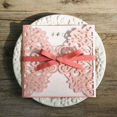 romantic shades of pink laser cut invitations