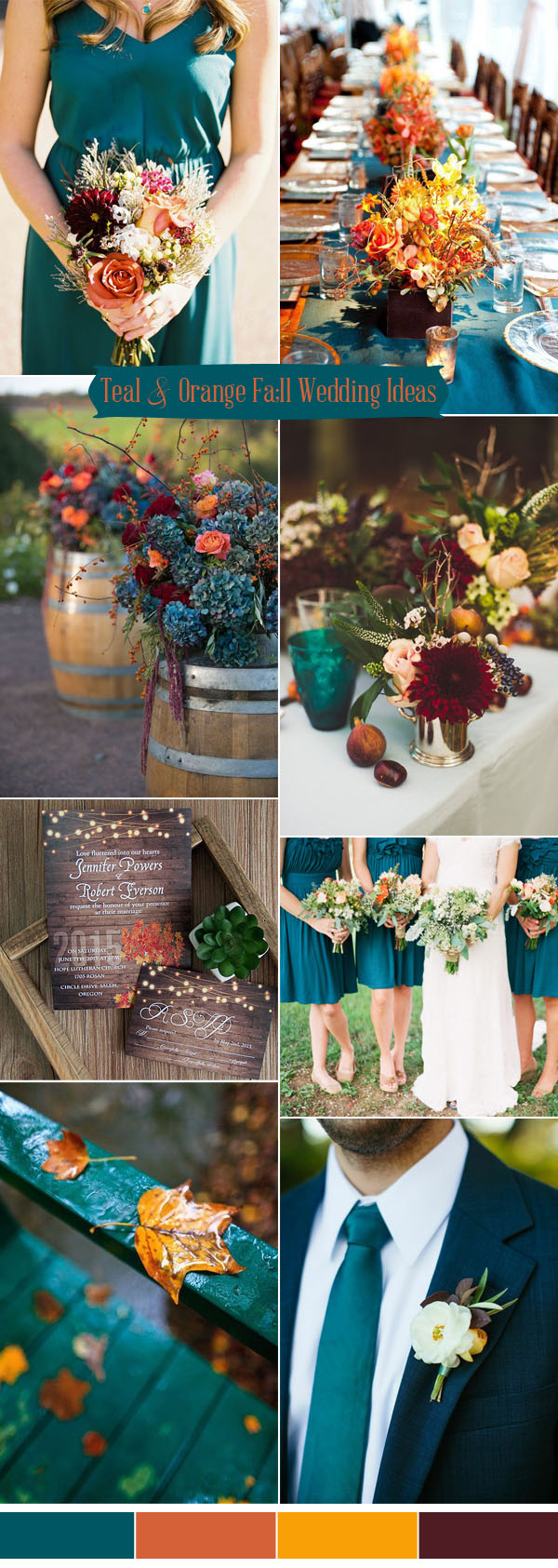 Ten prettiest shades of blue for 2017 wedding color ideas romantic teal blue and orange rustic fall wedding colors for 2017 trends junglespirit Image collections