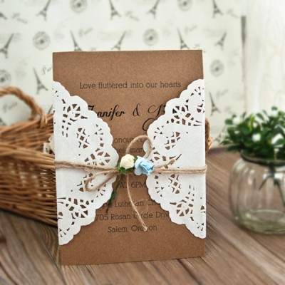 rustic lace twine wedding invitations
