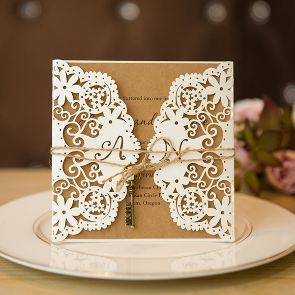 rustic vintage laser cut wedding invitations