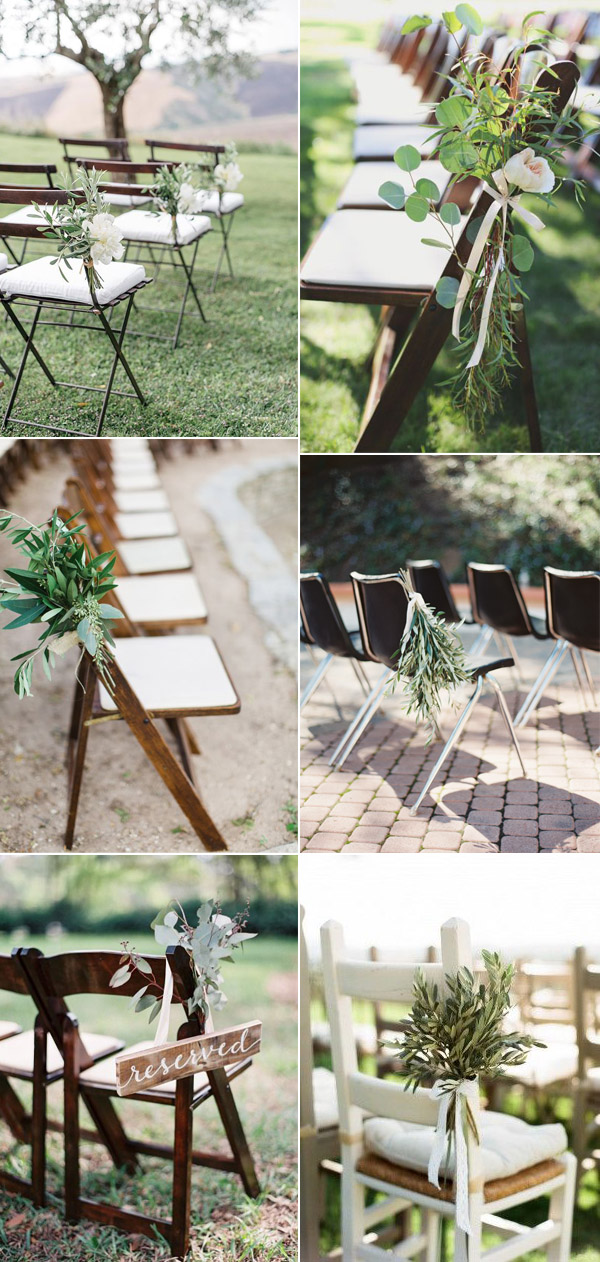 simple and beautiful greenery wedding ceremony chair decor ideas