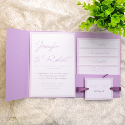 simple lavender pocket wedding invitations
