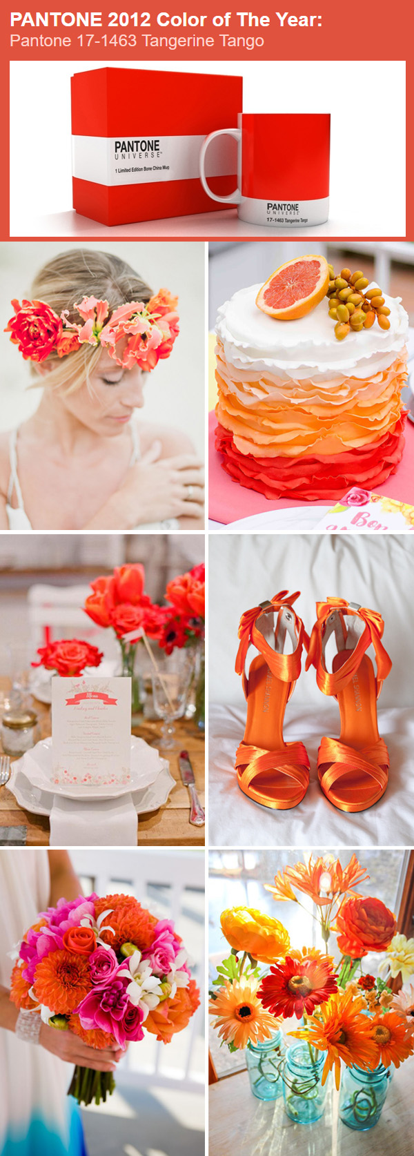 the best wedding color ideas in Tangerine Tango