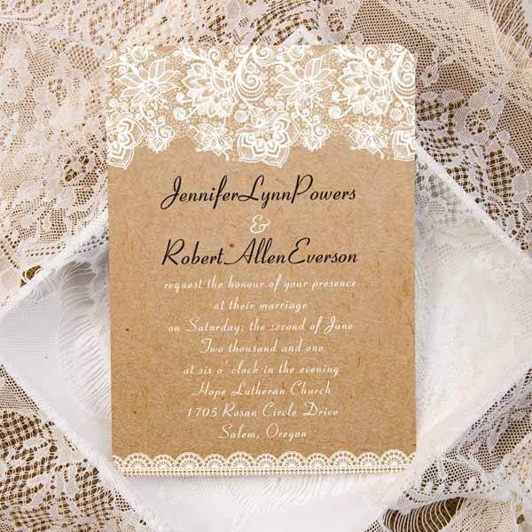 vintage burlap floral lace shape wedding invitations