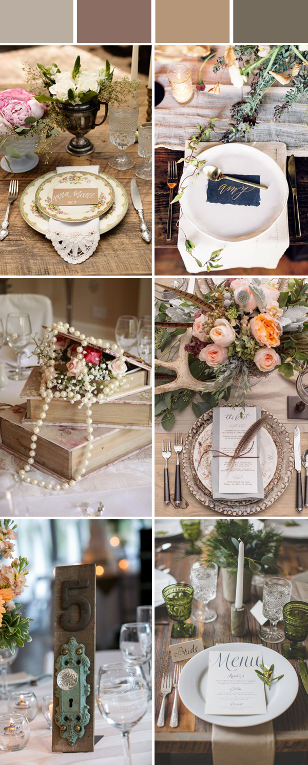 vintage wedding reception table setting ideas