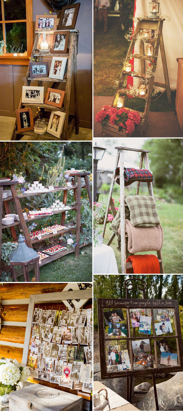 wood ladder and wooden frame wedding decoration ideas