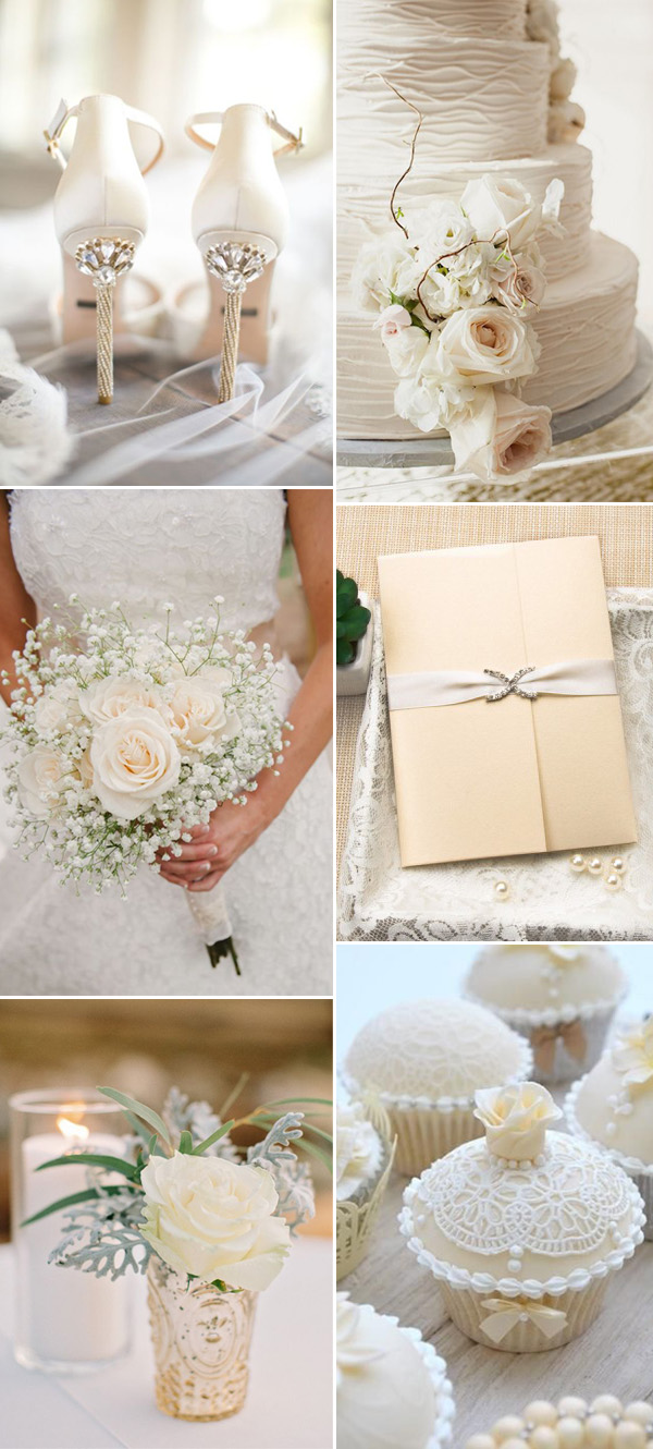 2017 neutral elegant ivory wedding color ideas