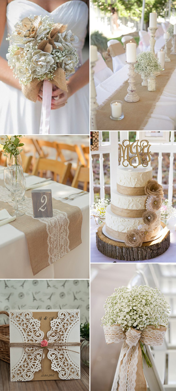 burlap country wedding ideas with elegance
