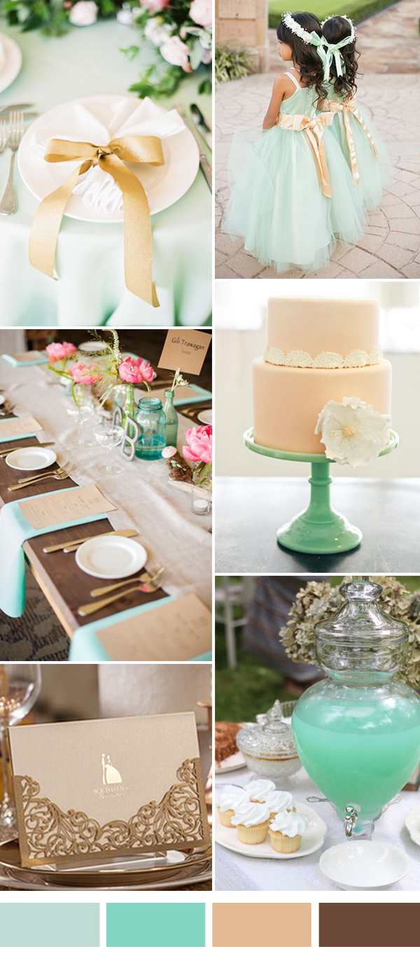 champagne and mint wedding color ideas