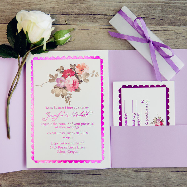 gliiter floral purple pocket wedding invitations for spring and summer
