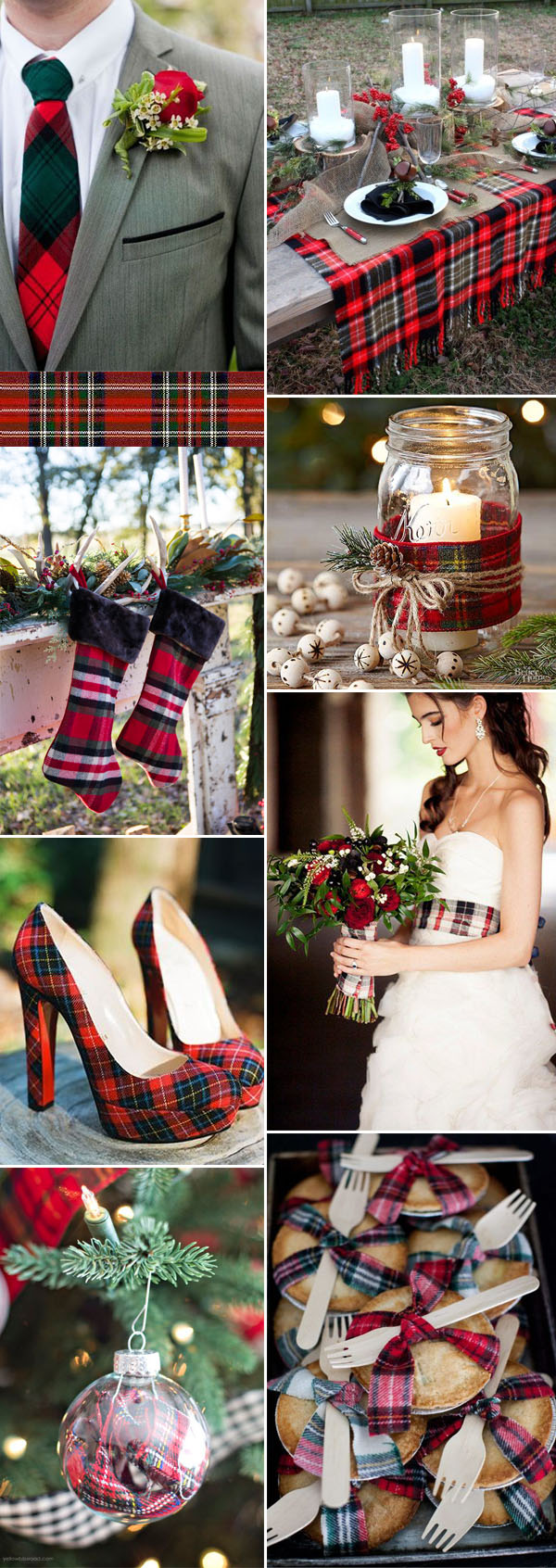 plaid holiday inspired wedding ideas for winter