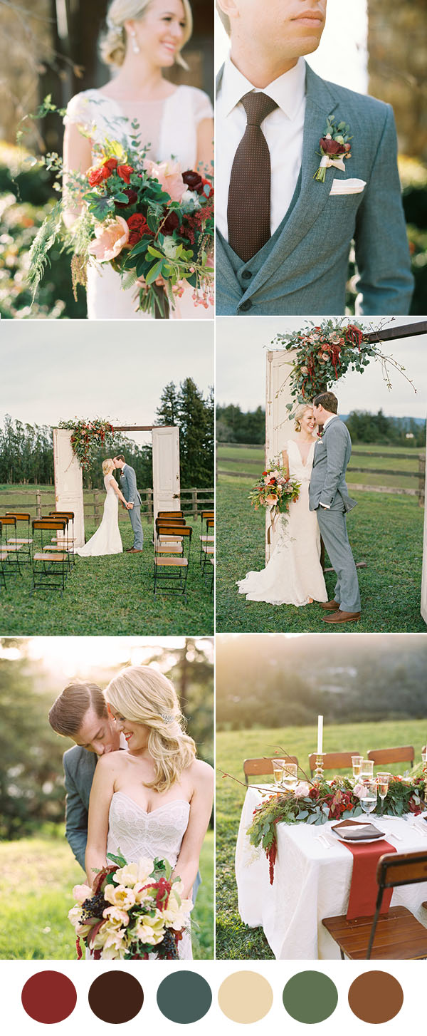 romantic and elegant rustic vintage wedding colors