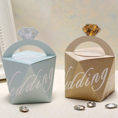 romantic ice blue and champagne diamond wedding favor bags