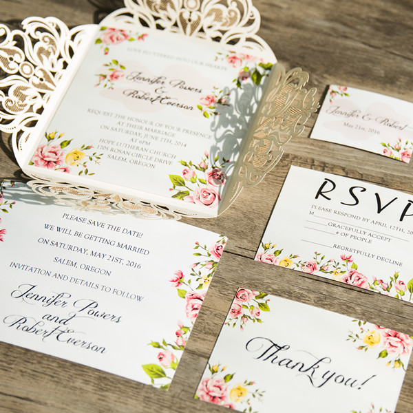 romantic peach flower spring ivory laser cut wedding invitations