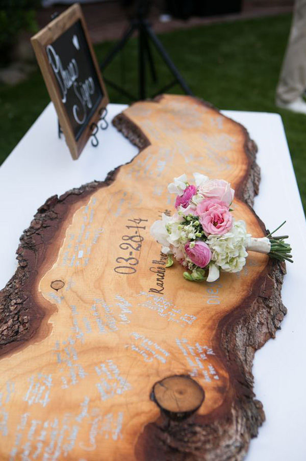 rustic wooden wedding guest books ideas