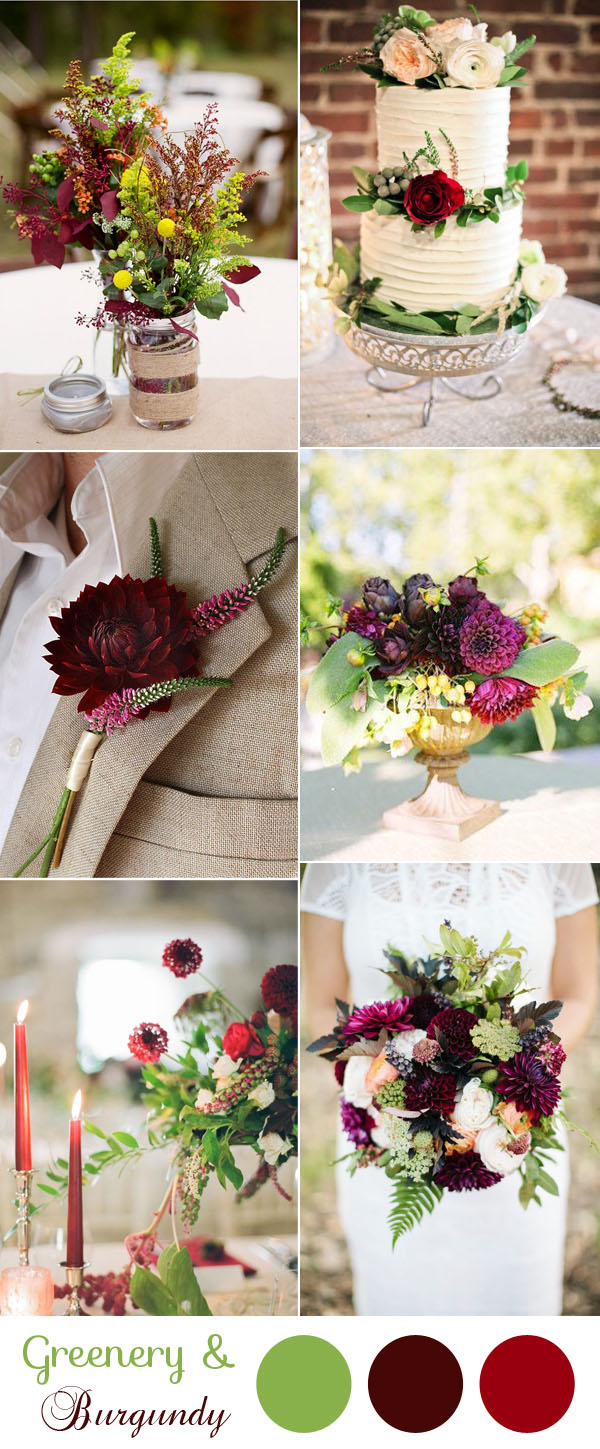 stunning greenery and burgundy wedding colors for 2017 trends