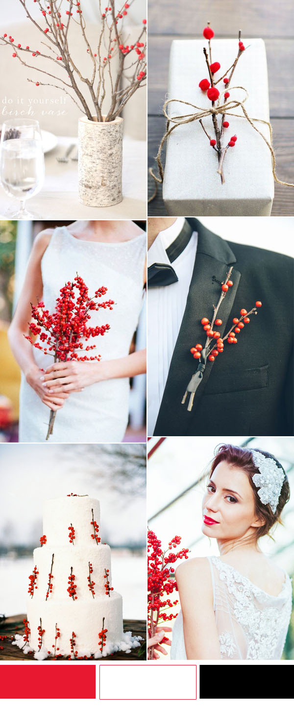 stylish and simple berry branch winter wedding ideas