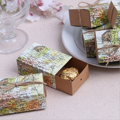 travel themed wedding favor candy boxes