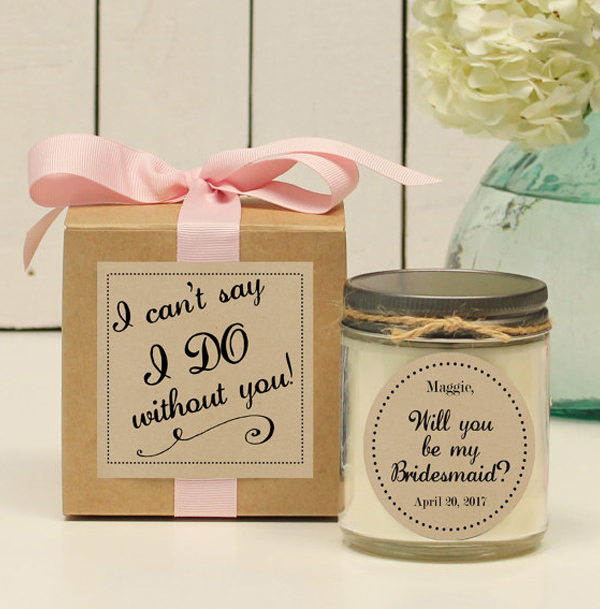 will you be my bridesamid-wedding candle favors ideas