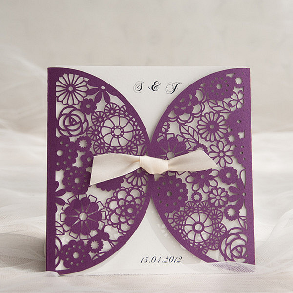 chic purple laser cut wedding invites with bow tie