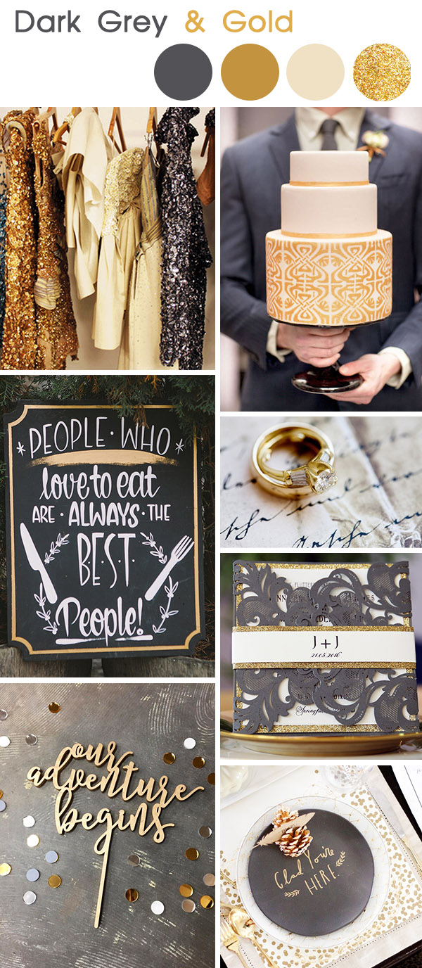 dark grey and gold vintage wedding colors