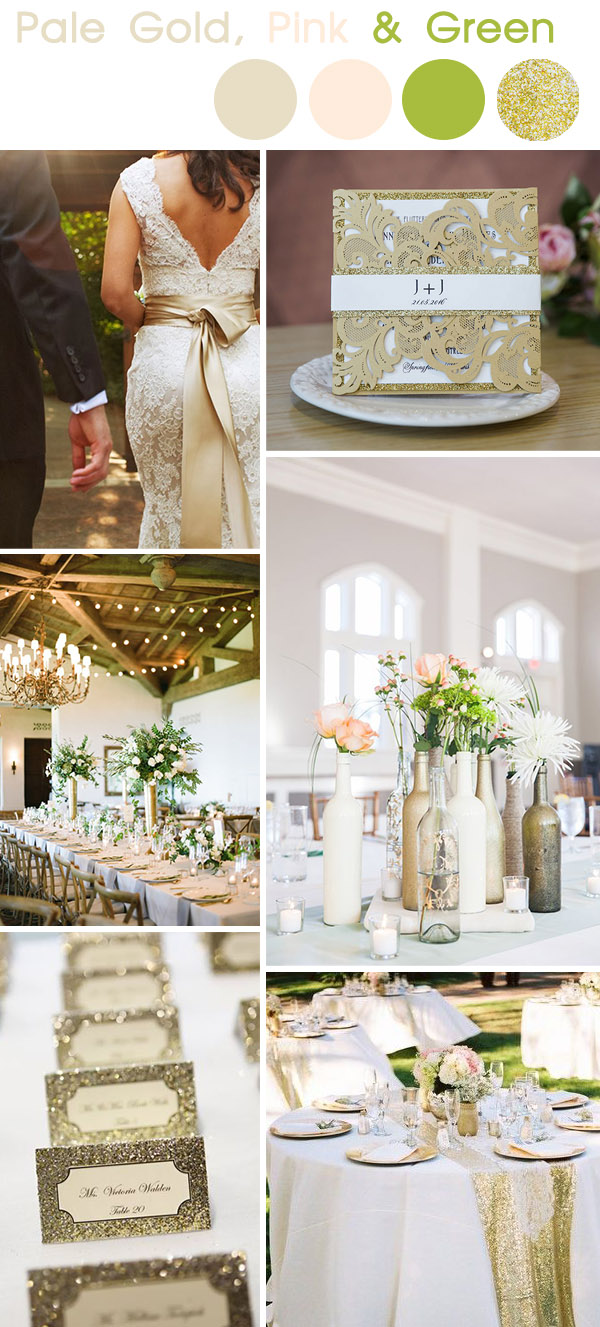 elegant pale gold, pink spring wedding color ideas