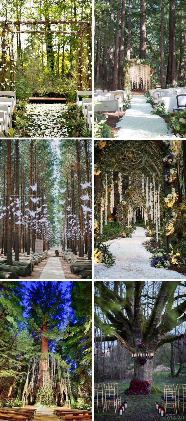 enchanted forest whimsical wedding ceremony ideas