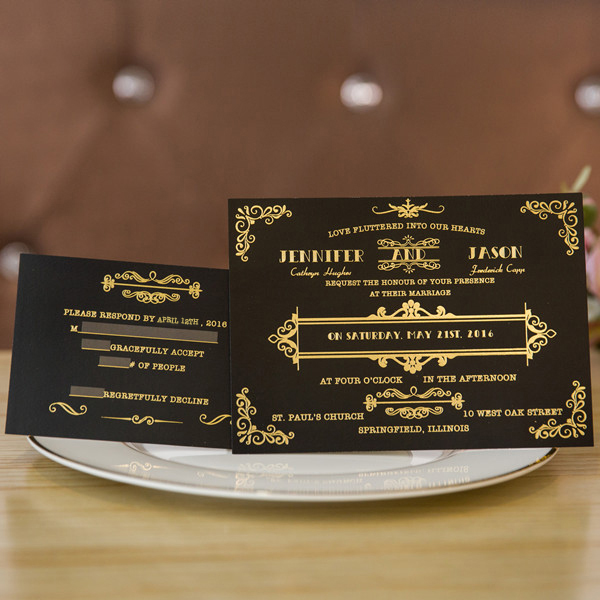 foil gold and black classic wedding invitations