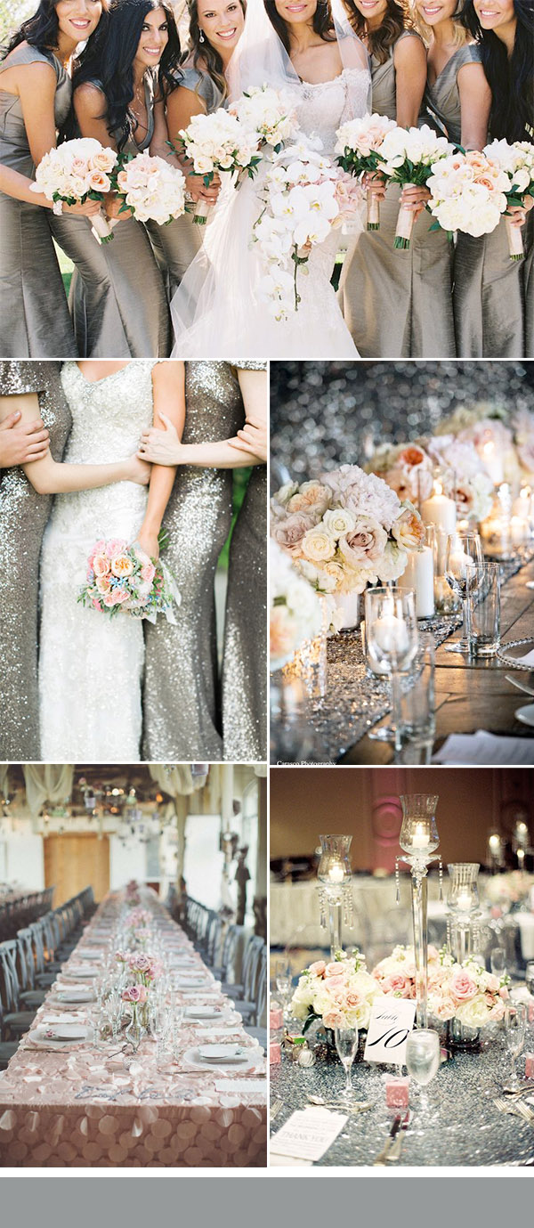 glitter silver and pink wedding colors