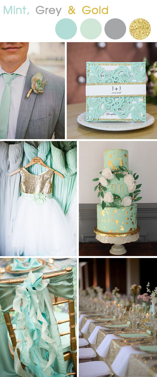 mint ,grey and gold spring and summer wedding colors