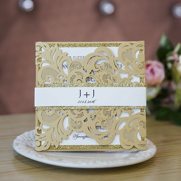 pale gold laser cut wedding invitations with glittery bottom cards and bands EWWS144 (2)