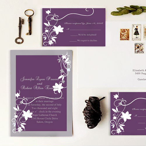 simple purple and grey wedding invitaion