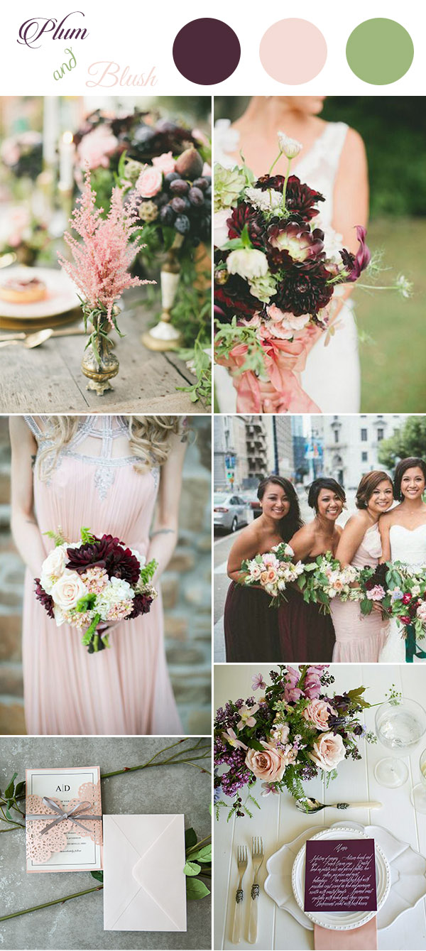 sweet plum and blush pink wedding color inspiration for 2017