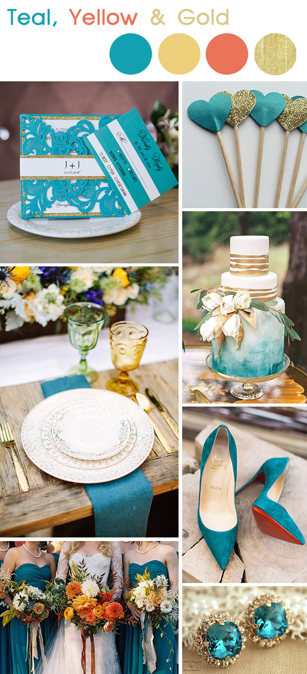 teal and gold fall and autumn wedding color inspiration