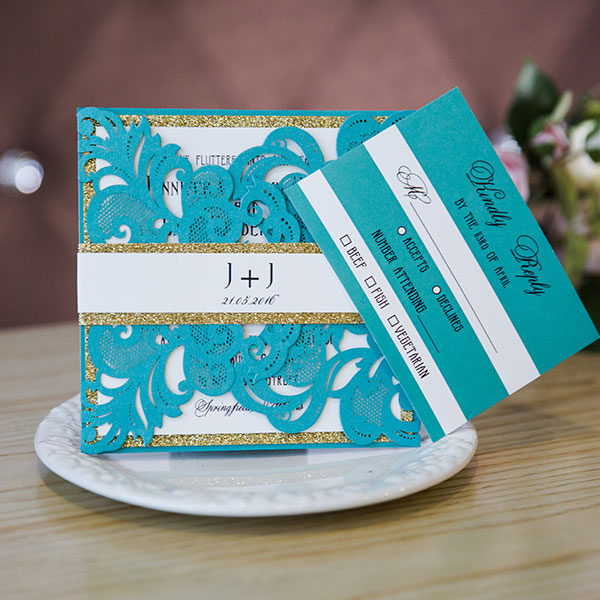 turquoise blue glitter laser cut wedding invitations