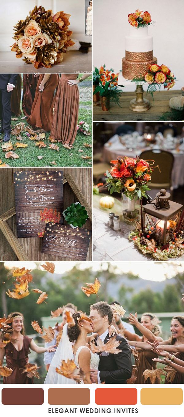 Bronze brown and orange fall and autumn wedding colors