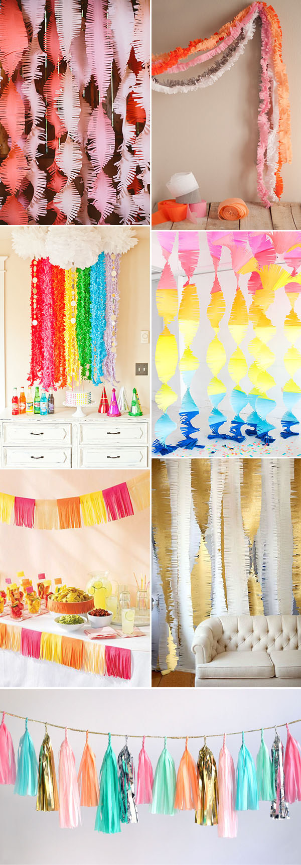28 creative budget friendly diy wedding decoration ideas colorful paper fringe garland diy wedding decoration ideas junglespirit Choice Image