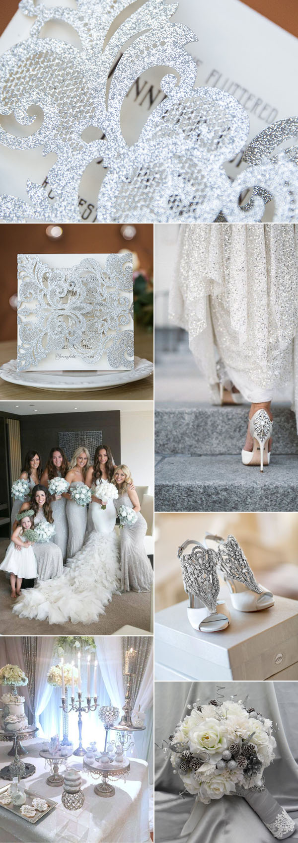 classy silver and white winter glamorous wedding ideas and invitations