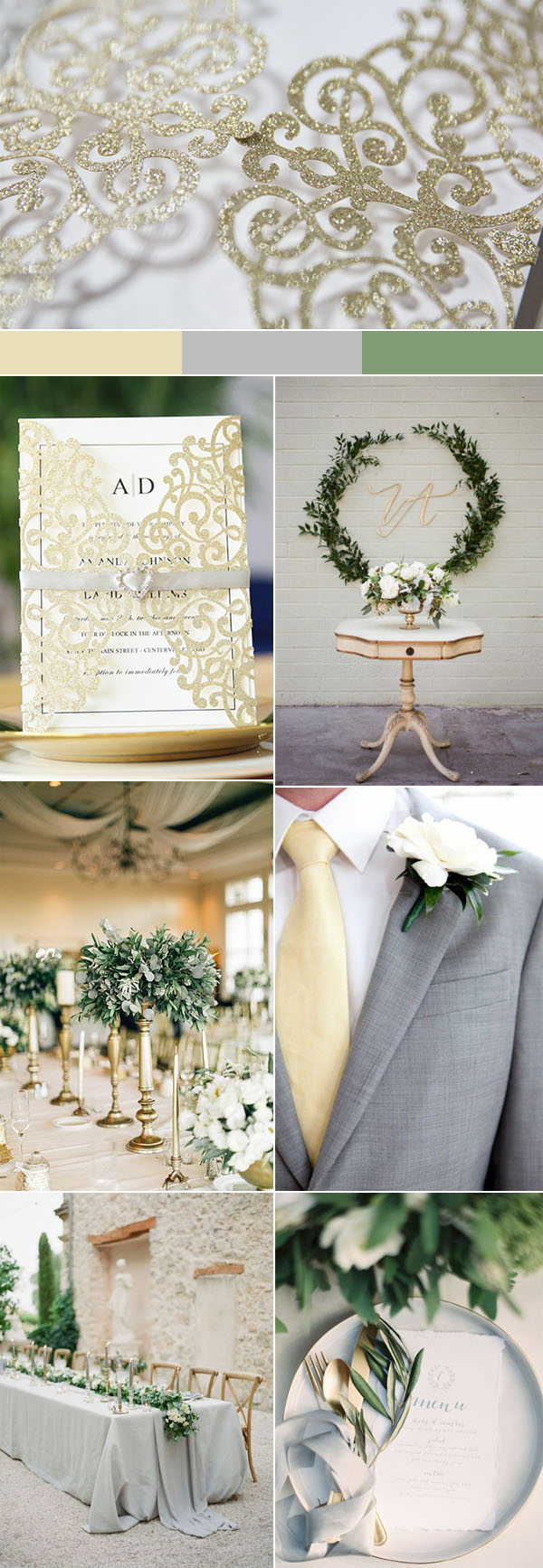 elegant romantic pale gold and gray spring and summer wedding color ideas