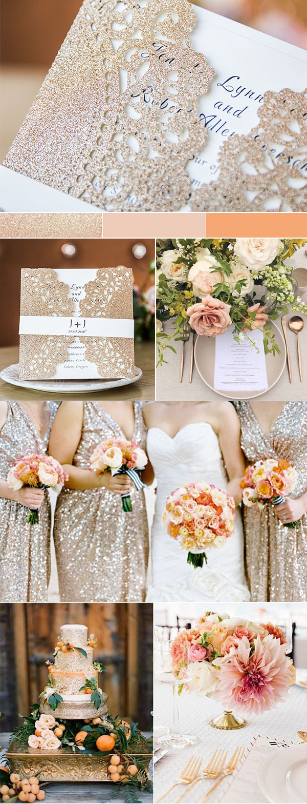 gold and peach pink classic wedding colors and invitations