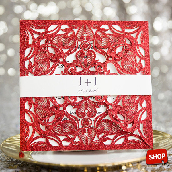 red glittery laser cut invitations with custom belly band EWWS153